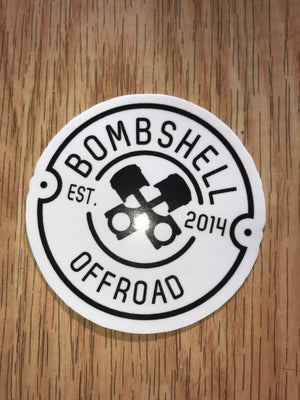 "Crossing Piston Round Sticker 3"" - Bombshell Offroad"