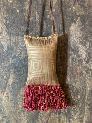 Home Accent Raw Silk with Wine and gold fringe - DMD Bags