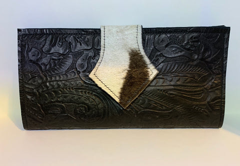 Black leather Wallet with genuine zebra hide trim