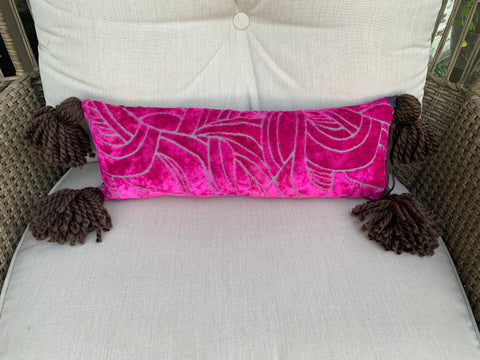 Luscious Lumbar😛 in Deep Fuchsia with Chocolate tassels and Fabulous Cheetah Chenille - DMD Bags