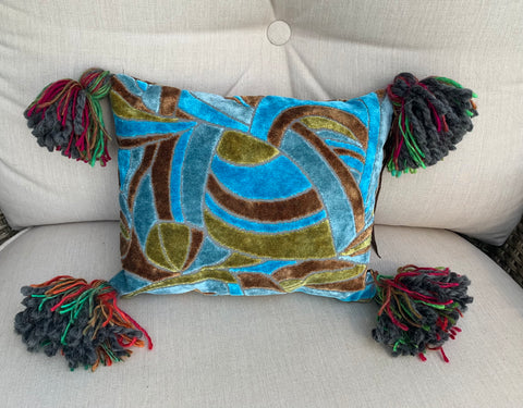 10x13 Turquoise Stainglass and Cheetah with Tassels - DMD Bags
