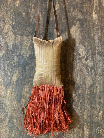 Raw silk with metallic print and a Rose spice fringe door knob accent - DMD Bags