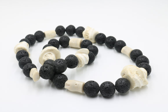 Lava Stone Conch Shell Necklace