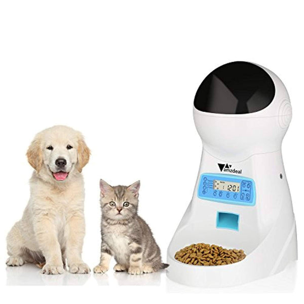amzdeal Automatic Cat Feeder Pet Dog Feeder Food Dispenser with Timer Programmable, LCD Display and Sound Recording Up to 4 Meals A Day
