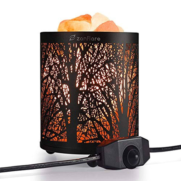 Natural Himalayan Salt Lamp, Zanflare Air Purifying Pink Salt Rock Lamp Night Light with Forest Design Metal Basket,Dimmable Touch Switch, Holiday Gift