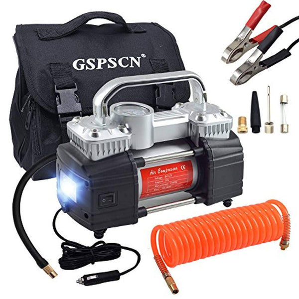 GSPSCN Dual Cylinder Air Compressor Pump,Heavy Duty Portable Tire Inflator 12V 150PSI for Fast Pumping with LED Work Lights