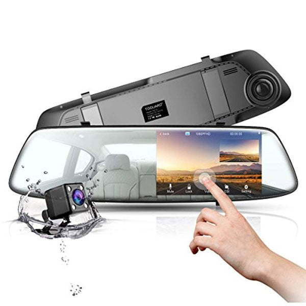 "Backup Camera 4.3"" Touch Screen Mirror Dash Cam 1080P TOGUARD Front and Rear Dual Lens Car Camera with Parking Assistance, Waterproof Reversing Camera"