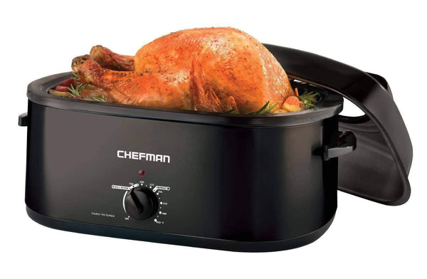 Chefman 20 Quart Roaster Oven Slow Cooker w/ Window Viewing Perfect for Slow Cooking, Roasting, Baking & Serving, Self-Basting Lid