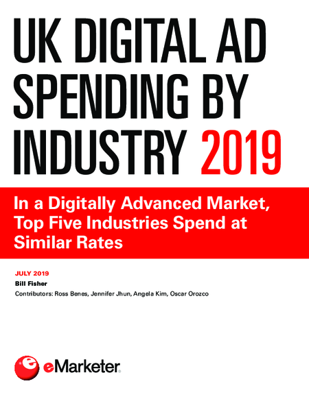 UK Digital Ad Spending by Industry 2019: In a Digitally Advanced Market, Top Five Industries Spend at Similar Rates