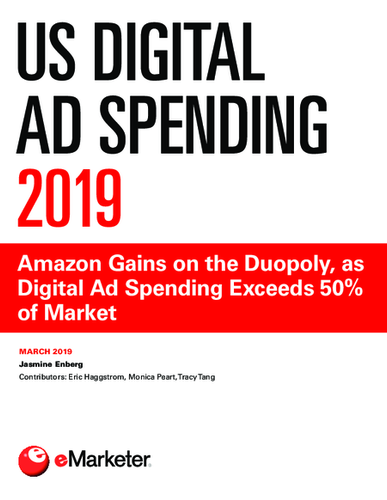 US Digital Ad Spending 2019: Amazon Gains on the Duopoly, as Digital Ad Spending Exceeds 50% of Market