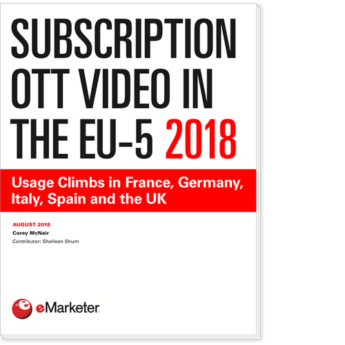 Subscription OTT Video in the EU-5 2018: Usage Climbs in France, Germany, Italy, Spain and the UK