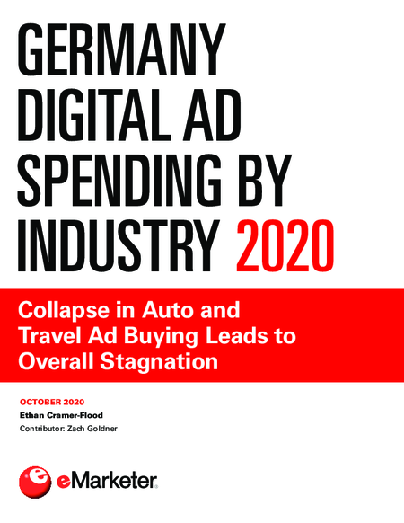 Germany Digital Ad Spending by Industry 2020: Collapse in Auto and Travel Ad Buying Leads to Overall Stagnation