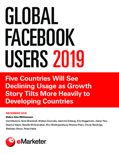 Global Facebook Users 2019: Five Countries Will See Declining Usage as Growth Story Tilts More Heavily to Developing Countries