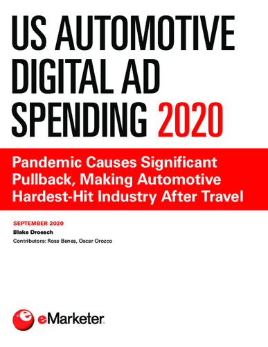 US Automotive Digital Ad Spending 2020: Pandemic Causes Significant Pullback, Making Automotive Hardest-Hit Industry After Travel