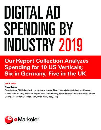 Digital Ad Spending by Industry 2019: Our Report Collection Analyzes Spending for 10 US Verticals; Six in Germany, Five in UK