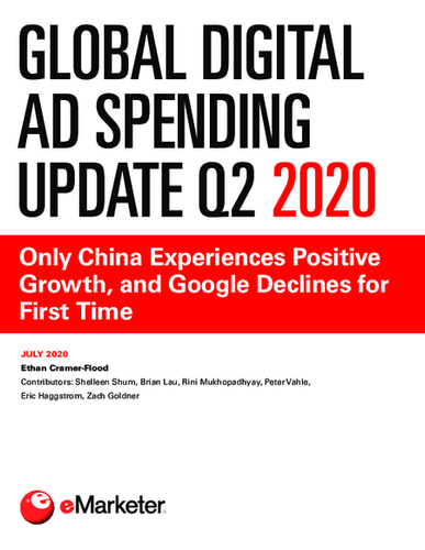 Global Digital Ad Spending Update Q2 2020: Only China Experiences Positive Growth, and Google Declines for First Time