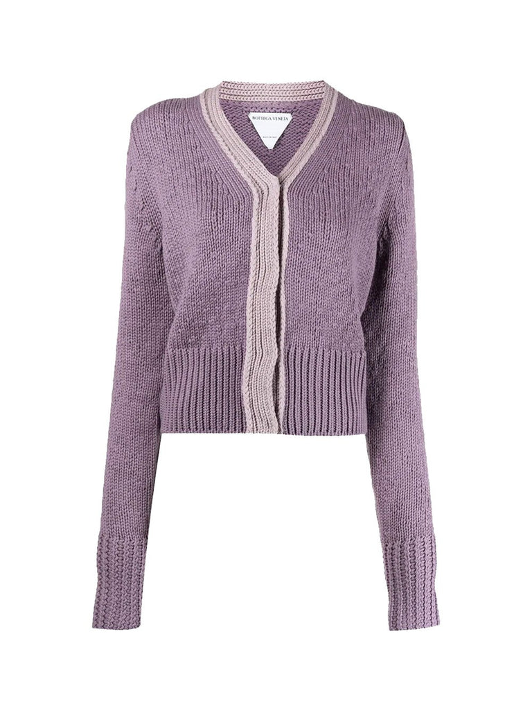 Two-Tone Cashmere Cardigan