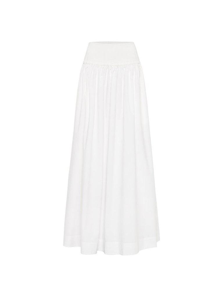 High Waisted A-Line Maxi Ribbed Waist Skirt