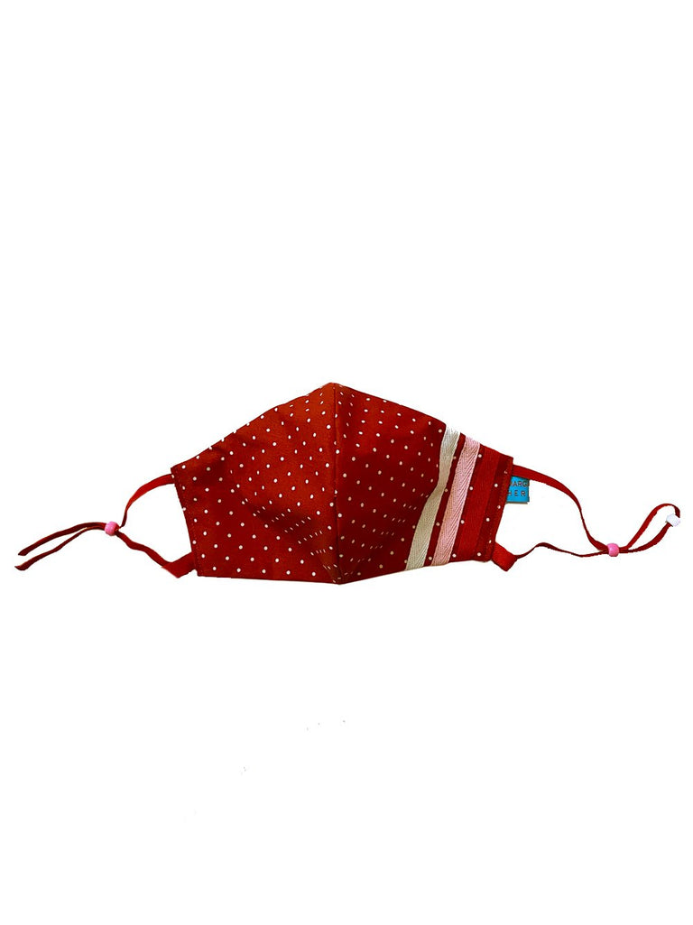 Red Stripes & Dots Mask with Lanyard