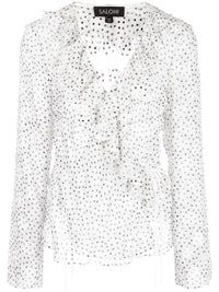 Iman V Neck Polka Dot Sheer Top Photo 1