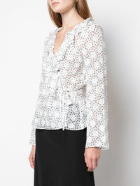 Iman V Neck Polka Dot Sheer Top Photo 3