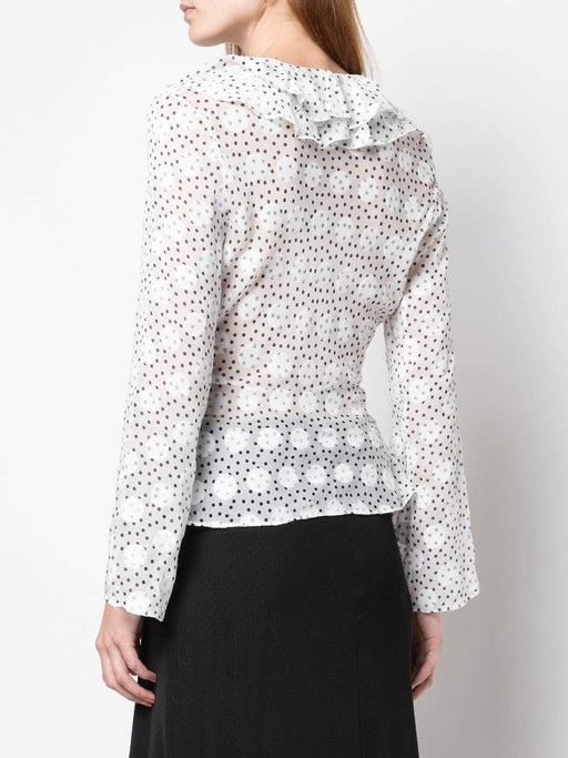 Iman V Neck Polka Dot Sheer Top