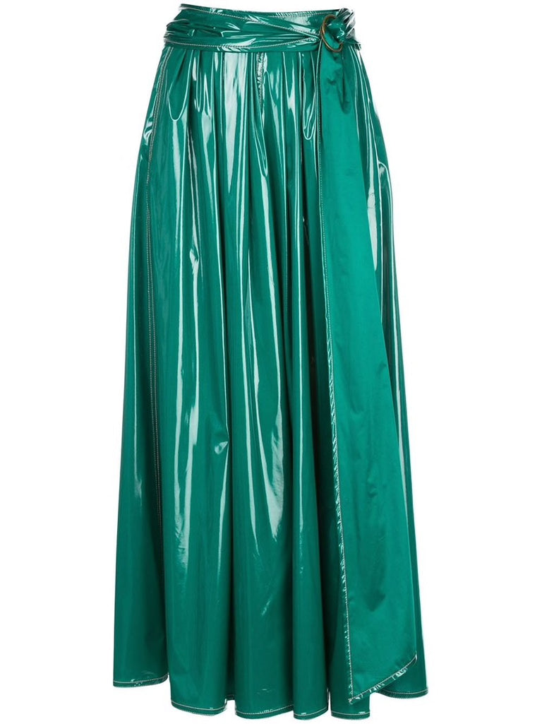 Glossy Belted Skirt