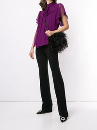Silk Chiffon Flounce Sleeve Top Photo 2