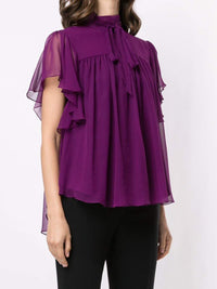 Silk Chiffon Flounce Sleeve Top Photo 3