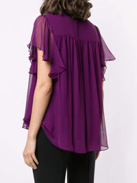 Silk Chiffon Flounce Sleeve Top Photo 4