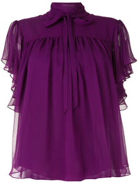 Silk Chiffon Flounce Sleeve Top Photo 1