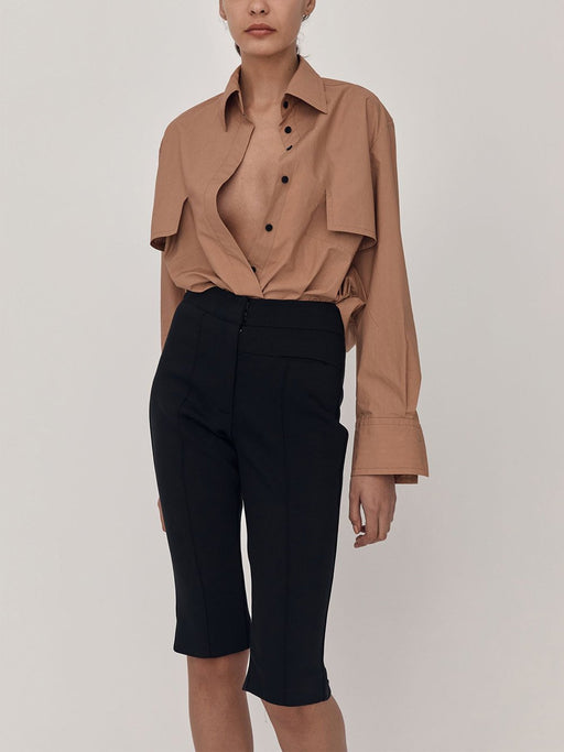 Button-Front Cotton Long Sleeve Shirt