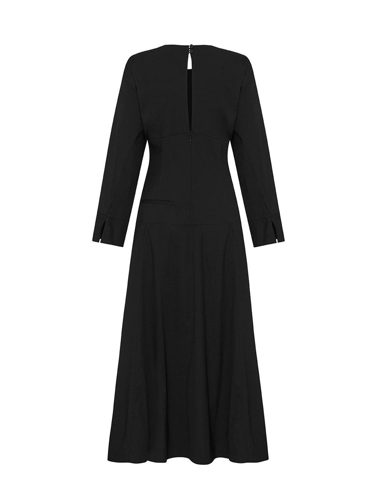 Long Sleeve V-Neck Button Side Midi Dress