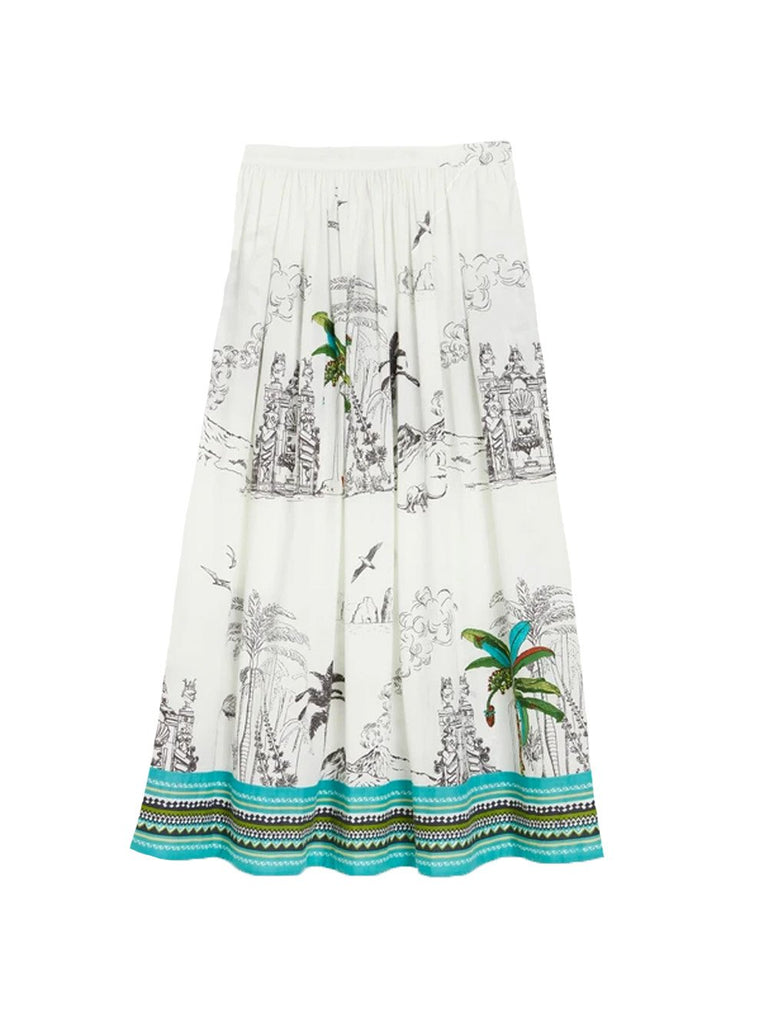 New Jane Highwaisted Midi Palm Tree Skirt