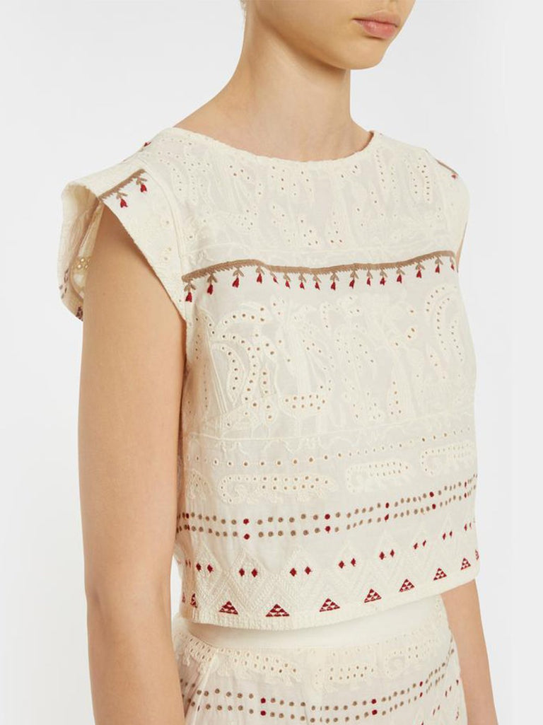 Valentine Embroidered Cap Sleeve Crop Top