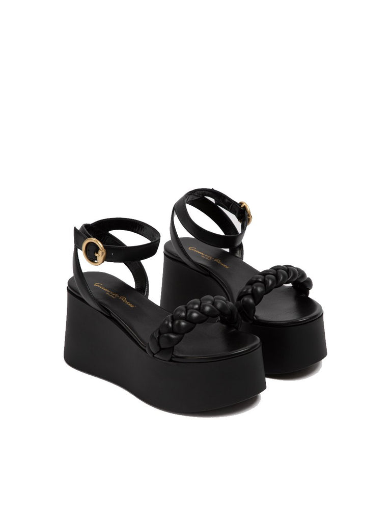 Braided Ankle Strap Flat-form Sandal