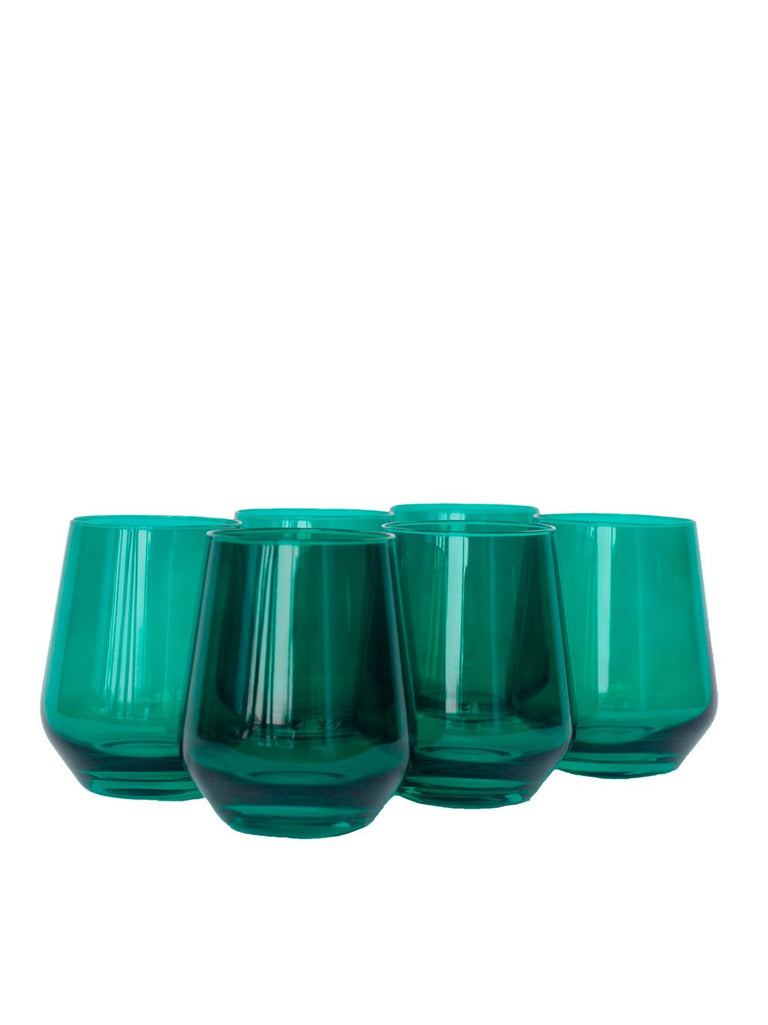 Green Stemless Wine Glasses 6 Box