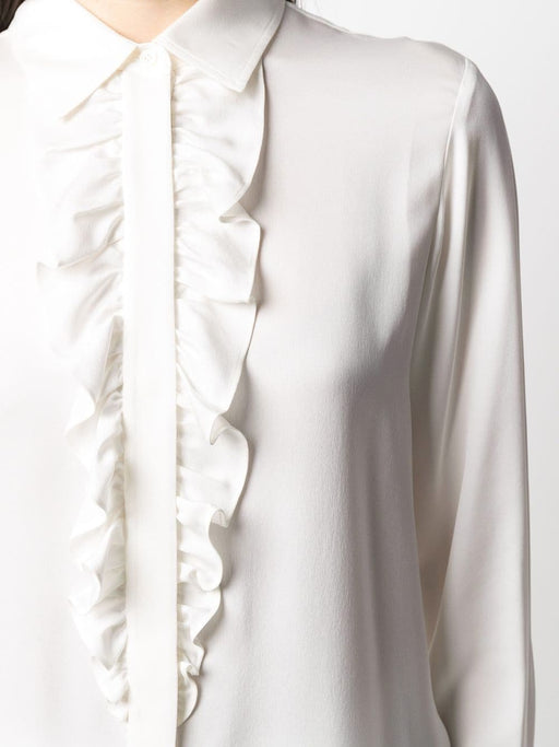 Ruffle Long Sleeve Tux Blouse