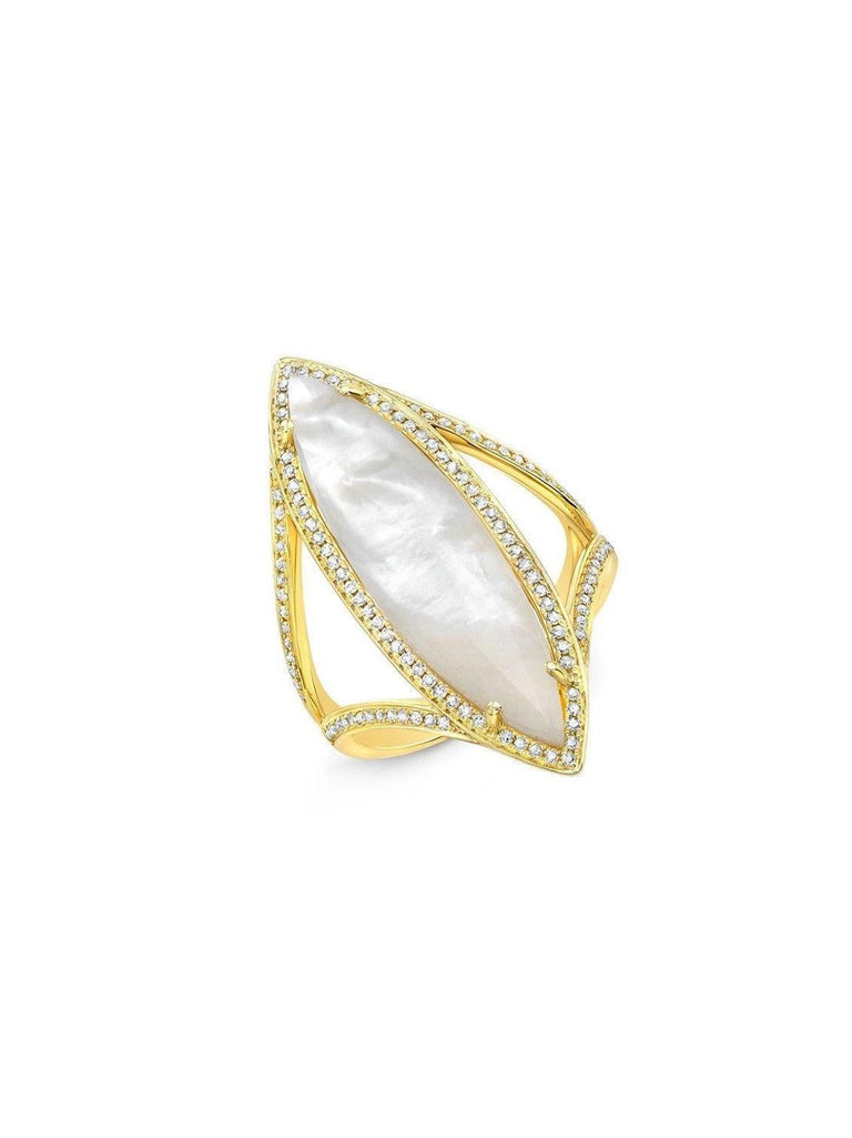 14KT Yellow Gold Mother of Pearl Diamond Celeste Ring
