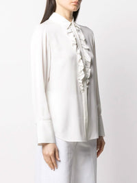 Ruffle Long Sleeve Tux Blouse Photo 3