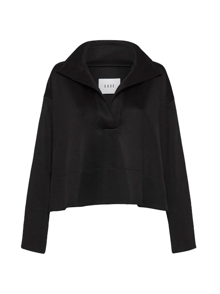 Long Sleeve Jersey V-Neck Open Collar Sweat Shirt
