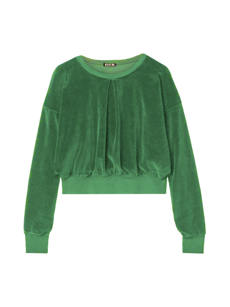 Long-Sleeve Cropped Velour Crew