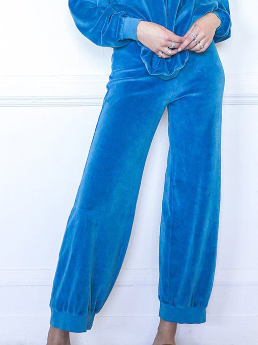 High-Waisted Harem Velour Ankle Pant