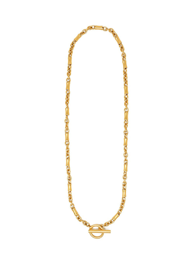 Gold Plated Long Chain-link Necklace