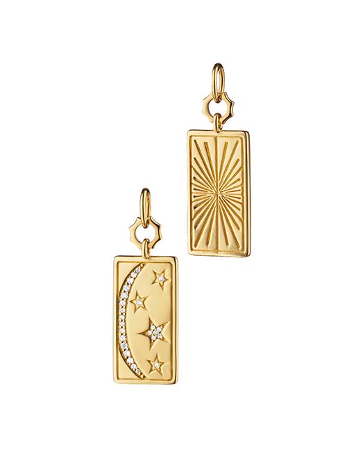 Yellow Gold Rectangular My Sun, Moon and Stars Tag Charm