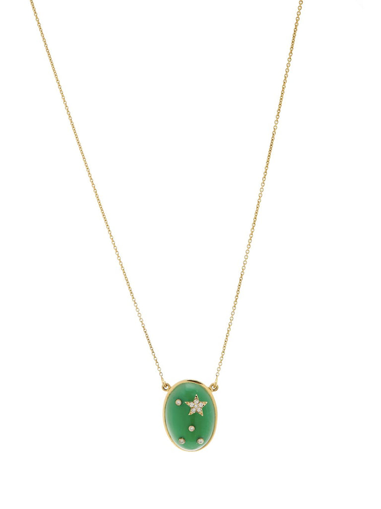 Chrysoprase Galaxy Pendant Necklace