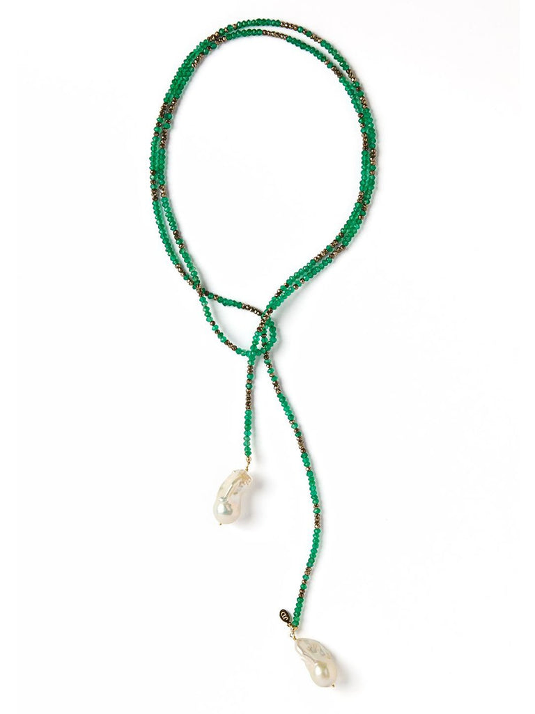 Green Onyx and Pyrite Ombre Gemstone Pearl Lariat