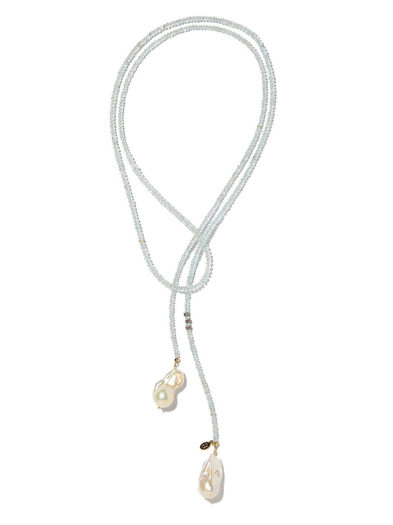 Aquamarine Classic Gemstone Lariat with Diamond Accent