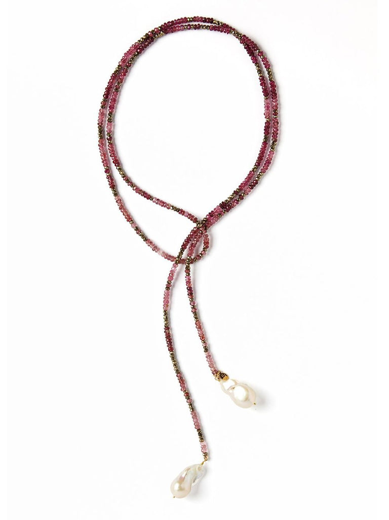 Pink Tourmaline and Pyrite Ombre Classic Gemstone Lariat