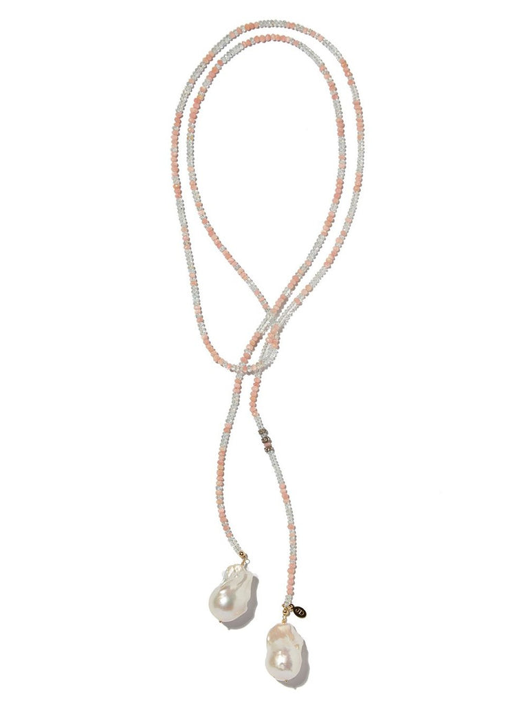 Aquamarine and Pink Opal Classic Gemstone Lariat
